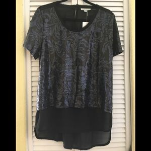 NWT Alberto Makali HiLo Sequin black and blue top